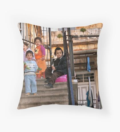 Two Boys and Two Girls - Safed, Israel Throw Pillow