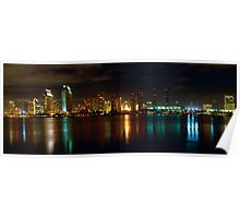 Panoramic View of San Diego at Night Poster