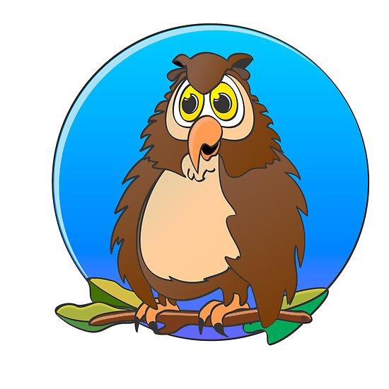Owl Blue Moon Cartoon by Graphxpro