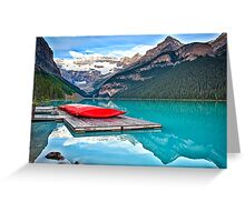Red Canoes on a Wooden Dock Greeting Card