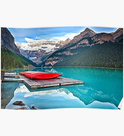Red Canoes on a Wooden Dock Poster