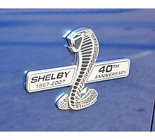 Shelby 40th Anniversary Badge Photographic Print