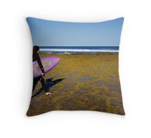 Surfer at Winkipop Throw Pillow