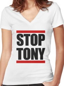 STOP TONY Women's Fitted V-Neck T-Shirt