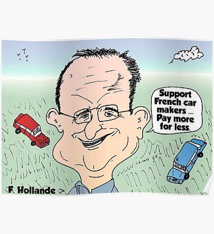 Francois Hollande auto cartoon Poster