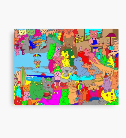 Bears on vacation Canvas Print