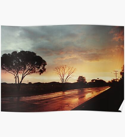 Wet Outback sunset Poster
