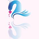 Love Birds &#x27;Blue Swans&#x27; by Christopher Richards