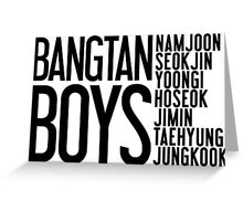 BTS/Bangtan Boys Names Greeting Card