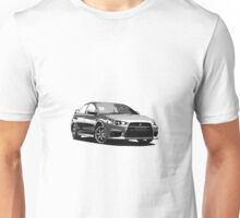 Mitsubishi Evolution X Sticker / Tee - Posterised/Greyscale design Unisex T-Shirt