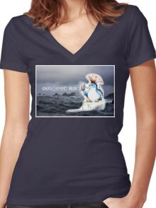 Outdoor Kid Penguin Punk Women's Fitted V-Neck T-Shirt