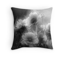 Daisy Flowers In Black And White Throw Pillow