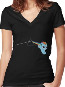 Rainbow Dash Pink Floyd Women's Fitted V-Neck T-Shirt