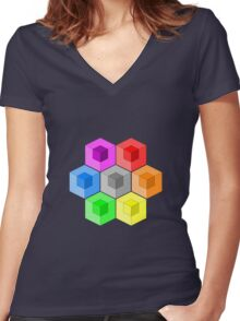 Cube Rainbow Women's Fitted V-Neck T-Shirt
