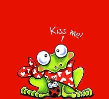 Kiss Me Blushing Frog n Ladybug by offleashart