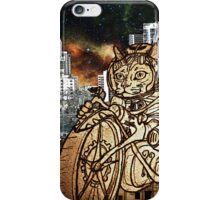 Berserk Steampunk Motorcycle Cat Riding in Moon City iPhone Case/Skin