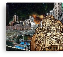 Berserk Steampunk Motorcycle Cat Riding in Moon City Canvas Print