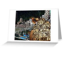 Berserk Steampunk Motorcycle Cat Riding in Moon City Greeting Card