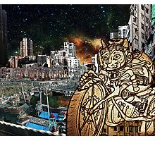 Berserk Steampunk Motorcycle Cat Riding in Moon City Photographic Print