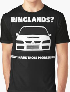'Ringlands? We Dont Have Those Problems Here' Mitsubishi Evo Gag Design Sticker / Tee Graphic T-Shirt