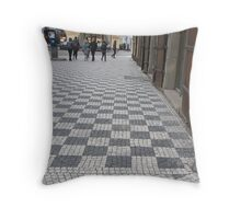 Walking in the Old Town Throw Pillow