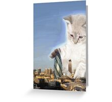 cat plays with gherkin Greeting Card