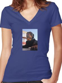 Regal and Proud Male Rottweiler Portrait Women's Fitted V-Neck T-Shirt
