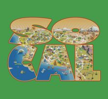 So Cal Cartoon Map Text Graphic Kids Clothes