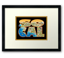 So Cal Cartoon Map Text Graphic Framed Print