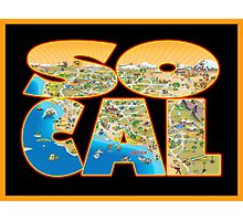 So Cal Cartoon Map Text Graphic Photographic Print