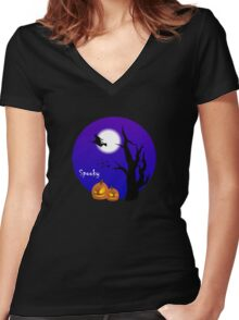 spooky witch on broom Halloween pumpkins  Women's Fitted V-Neck T-Shirt