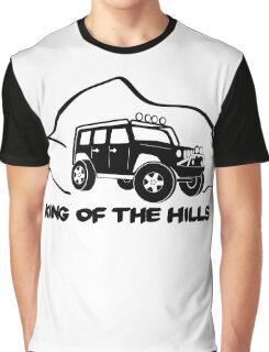 'King of the Hills' Jeep Wrangler 4x4 Sticker T-Shirt Design - Black Graphic T-Shirt