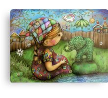 There's an Elephant in my Garden Metal Print
