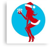 Santa Girl with Gift Canvas Print