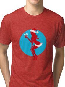 Santa Girl with Gift Tri-blend T-Shirt