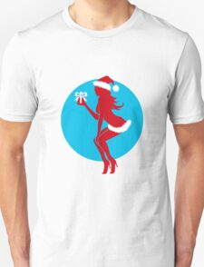 Santa Girl with Gift T-Shirt