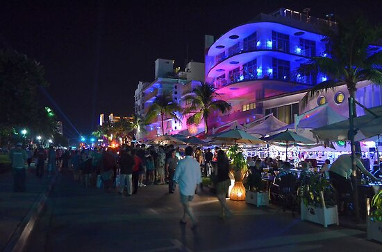 Street Night Life on Ocean Drive - Miami Beach, South Florida by Jeremy Lavender Photography