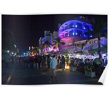 Street Night Life on Ocean Drive - Miami Beach, South Florida Poster