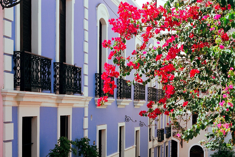 Colorful Balconies of Old San Juan, Puerto Rico by George Oze