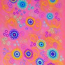 RASPBERRY FIZZ - Sweet Pink Fruity Candy Swirls Abstract Watercolor Painting Bright Feminine Art by EbiEmporium