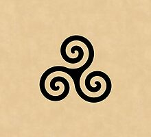 Teen Wolf Triple Spiral Triskelion Tattoo (Textured Tan) by runswithwolves