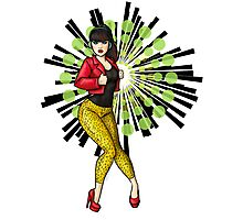 Rockabilly Girl With Leopard Print Pants Photographic Print