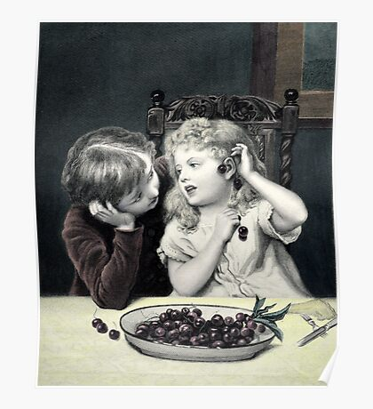 "Vintage Victorian Print ""Cherry Earrings"" Poster"