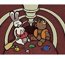 Teddy Bear And Bunny - Hard To Swallow Photographic Print
