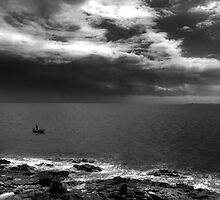 Lone Fisherman Before Storm by EdPettitt