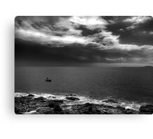 Lone Fisherman Before Storm Canvas Print