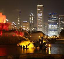 Chicago Fountain Lit Up by EdPettitt