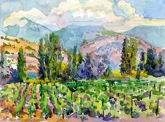 Landscape with vineyard by Svetlana Mikhalevich