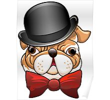 Bulldog in a bowler hat Poster