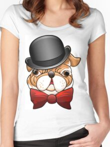Bulldog in a bowler hat Women's Fitted Scoop T-Shirt